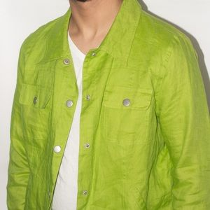 "VTG ""Sara Isabela"" 100% Linen Green Shirt Jacket"